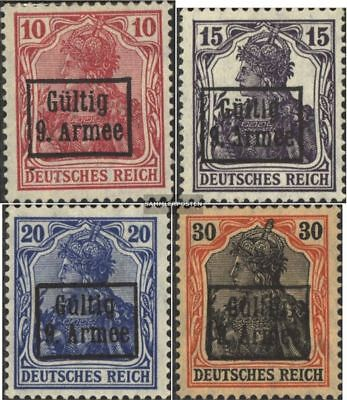 romania. (German. cast.)-9. Army 1-4 (complete.issue.) with hinge 1918 Bucharest