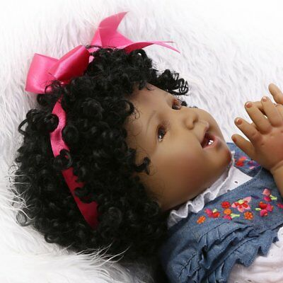 55CM African American Black Skin Silicone Reborn Baby Doll Toy Smile Baby P6