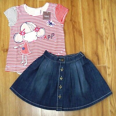 Bnwt Girls Next Bee Top & Denim Skirt 3-4 Yrs New Holiday Party Christmas Dress