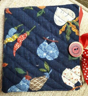Quilted Handmade Needle Book Vegetables Japanese Navy Fabric red wooden button