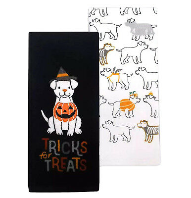 NEW Tricks For Treats Dog Puppy Celebrate Halloween Fun Kitchen Towel 2-Pc Set