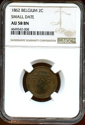 1862 (Small Date) NGC AU 58 BN Belgium 2c Coin XF272