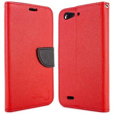 Red / Black Wallet Phone Cover Folio Case for ZTE Blade D6 + Screen Protector