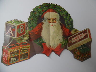 c.1920 National Biscuit Company Santa Claus Christmas Window Sign Poster Antique