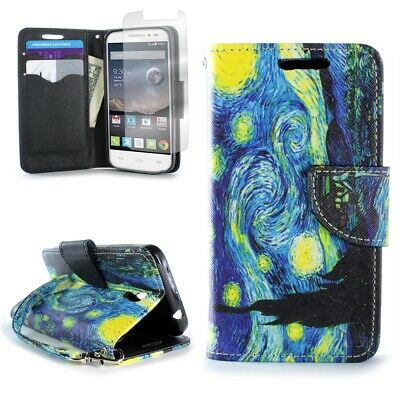 Starry Night Design Wallet For ALCATEL One Touch Pixi Charm Credit Card Case
