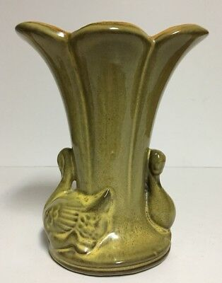Vintage Gonder Green Vase H 80 Usa Pottery Beautiful Mint