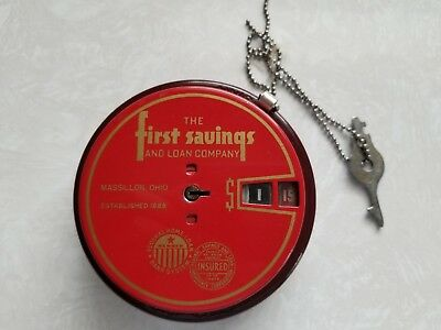 Add O Bank Coin Saver / Counter 1940s Bank with KEY