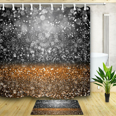 Gold And Gray Bling Glitter Shower Curtains Bathroom Waterproof Polyester Fabric