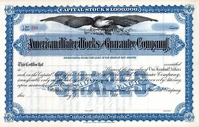 American Water Works & Guarantee of New Jersey 1890's Stock Certificate