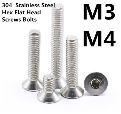 M3 M4 304 Stainless Steel Stainless Steel Hex Flat Head Socket Caps Screws Bolts