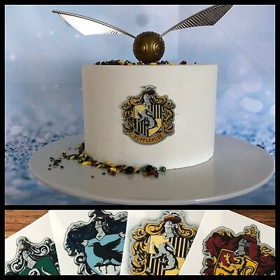 4x Potter house crests edible topper gryffindor hufflepuff ravenclaw slytherin