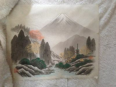 """Vintage Chinese Painting On Silk Asian Mountains with Bridge Unframed 17"""" x 14"""""""