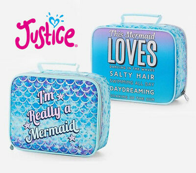 NEW Justice I'm Really a Mermaid 2-Sided Lunch Box Tote Bag Blue Multi