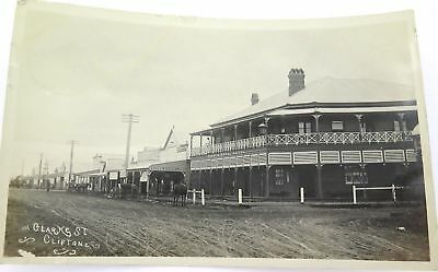 ".RARE c1910 REAL PHOTO POSTCARD ""CLARKE ST, CLIFTON QLD"" HOTEL, JEWELLER, TAILOR"