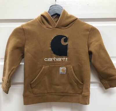 CARHARTT Boy Kids Pullover Hoodie Brown Camo & Spellout Logo Size 5