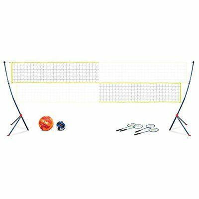 Portable Full Badminton Set Volleyball Net 4 Player Rackets Easy Setup System