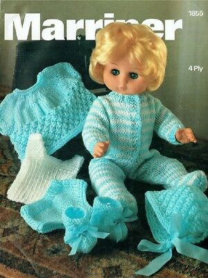 Dolls Clothes Knitting Pattern Copy 4 Ply Doll size 12-18 ins ~ 30 - 45 cms