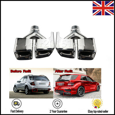 Car Exhaust Pipes Tail Muffler Tips For Mercedes Benz W164 2010-2013 silver UK