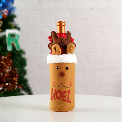 Christmas Decoration Red Wine Bottle Cover Bags - Snowman Santa Claus Table 8C