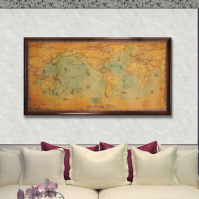 The Old World Map Large Vintage Style Retro Paper Poster Wall Art Home Decor