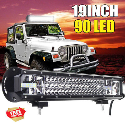 19nch CREE LED Light Bar SPOT FLOOD Offroad 4x4 Driving Work Bars 12V 3 Rows AU