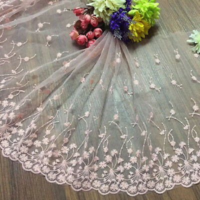 1 yard Long 35cm Wide Embroidery Flower Tulle Lace Trim Wedding Dress Sewing DIY