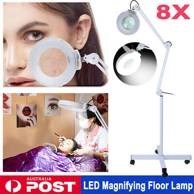 "8X Magnifying LED Light Floor Lamp 5"" Glass Len Adjustable Arm Beauty Dental"