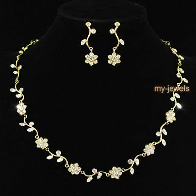 Bridal Wedding Bridesmaid Flower Crystal Gold Plated Necklace Earrings Set S1037