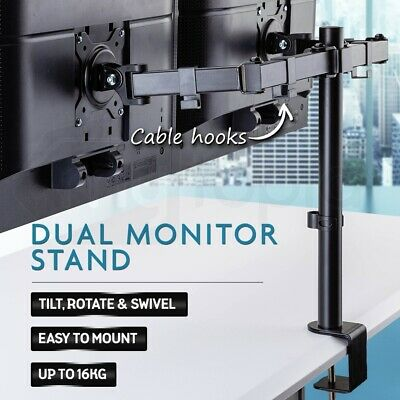 AVANTE Dual Computer Monitor Arm Stand - Screen Riser Holder Desk Mount Bracket