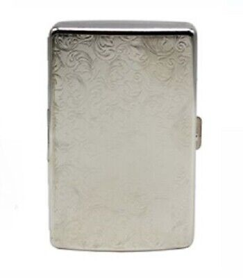 Stainless Steel Filagree Pattern Cigarette Case Holds 16 Cigarettes Tobacco