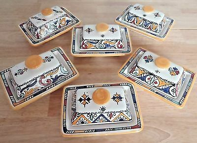 Hand Painted Ceramic Lidded Butter Dish * Moroccan Pottery * Yellow Top