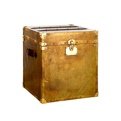 Storage Trunk Vintage Look Patina Finish Brass Teak woo Detail For Home n Travel