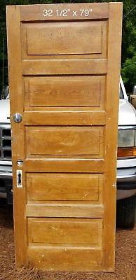 "32 1/2"" x 79"" Raised 5 panel pine bedroom vintage door"
