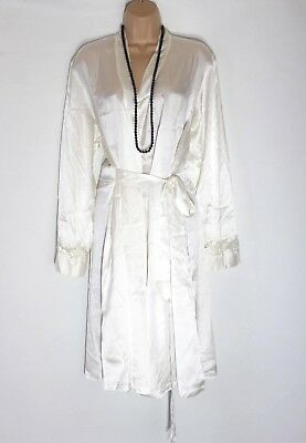 Womens Vintage Boux Avenue Stretch Midi Ivory 100 Silk Robe