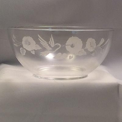 Avon Gift Collection 24% Lead Crystal  Frosted Hummingbird Large Serving Bowl