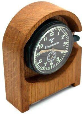 "8-day 10-jewel Germany WWII Navy Clock JUNGHANS J30D ""Kriegsmarine"" WOODEN STAND"