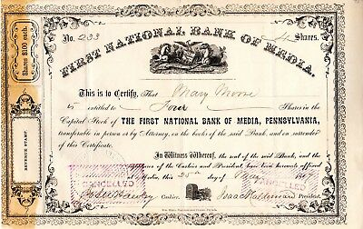 First National Bank of Media, Pennsylvania 1867 Stock Certificate