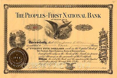 The Peoples First National Bank of Hoosick Falls, NY 1936 Stock Certificate