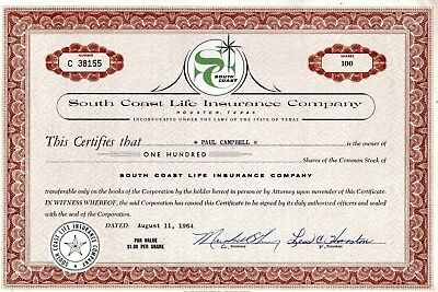 The South Coast Life Insurance  Company of Houston Texas 1964 Stock Certificate
