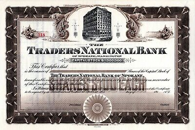 The Traders National Bank of Spokane, Washington ca 1910 Stock Certificate