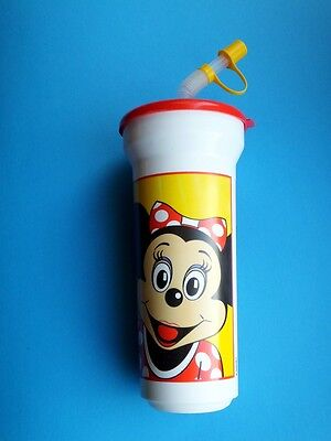 alt Disney Land Mickey Minnie  Minnie Trink Becher + Deckel + Halm  Plastik