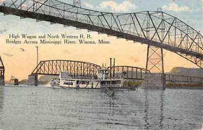 Winona Minnesota High Wagon Western RR Bridge Antique Postcard K103715