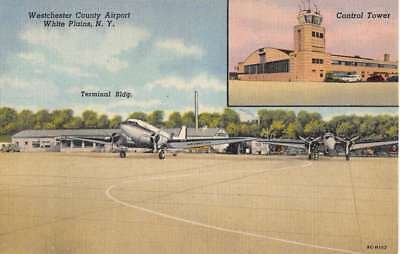 White Plains New York Westchester County Airport Antique Postcard K103341