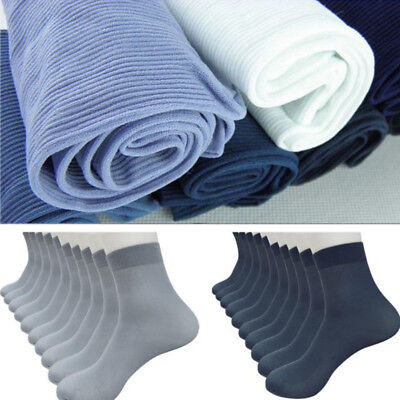 Mens 1/4/8Pairs Bamboo Fiber Ultra-thin Elastic Silky Short Silk Stockings Socks