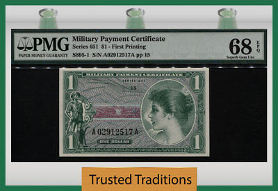 Tt Series 651 Military Payment Certificate 1 Dollar First Printing Pmg 68 Epq