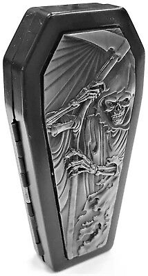 Eclipse Biker Metal Grim Reaper Coffin Crushproof Cigarette Case, Kings 100s