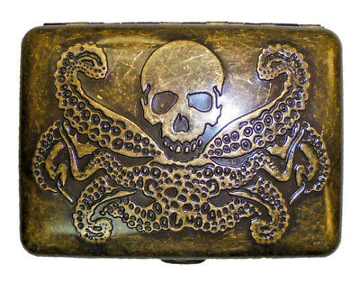 Bronze Metal Raised Octopus Skull Crushproof Cigarette Case, Kings, 3102BSK