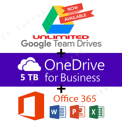 Google Drive Unlimited added to your Account + OneDrive 5TB + Office 365 Pro