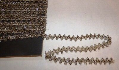 """Antique 1900s 1/2"""" Glass BEADED Dress Trim Clear & Shaded Hand Tied DOLL  6yds."""