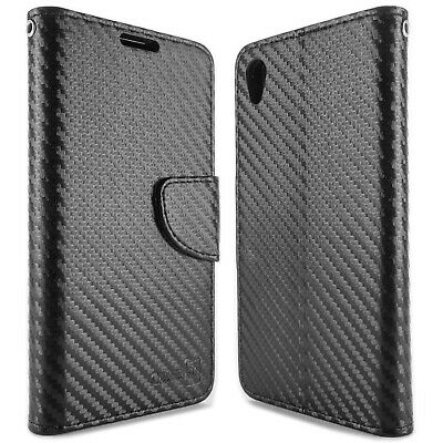 Black Carbon Fiber Wallet Pouch Cover Case + Screen Protector for Sony Xperia Z5
